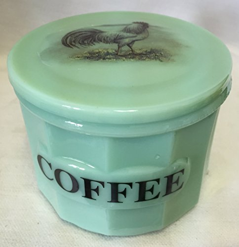 Jade Jadeite Jadite Green Depression Style Glass Coffee Crock Canister Cellar w/ Chicken White Leghorn Rooster ()