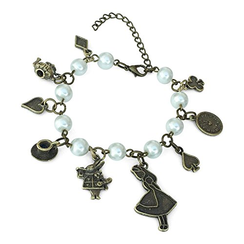 Alice Brass Tone Bracelet with Rabbit, Clock, Teapot and other Various Charms (Alice In Wonderland Dormouse Costume)