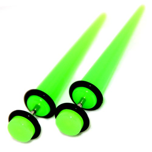 Neon Green Acrylic Fake Cheaters Faux Illusion Tapers Stretchers Expanders 2G Gauge 6mm 1 Pair Medium