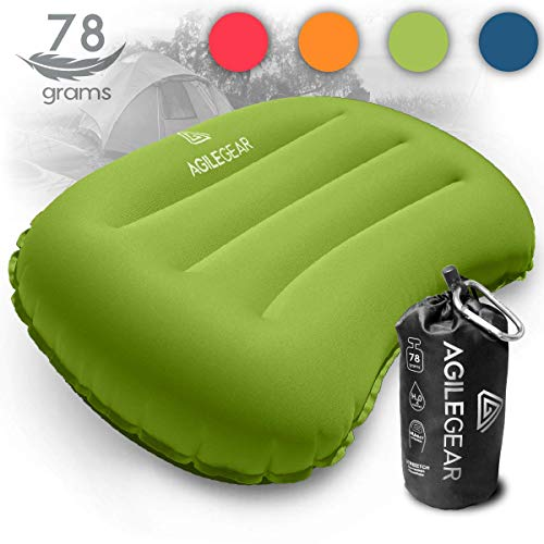 Agile Gear Camp Pillow - Inflatable Ultralight Camping and Backpacking Sleeping Pillow - Compact Soft Compressible, Packable, Ergonomic Neck and Lumbar Support for Travel (Lime)