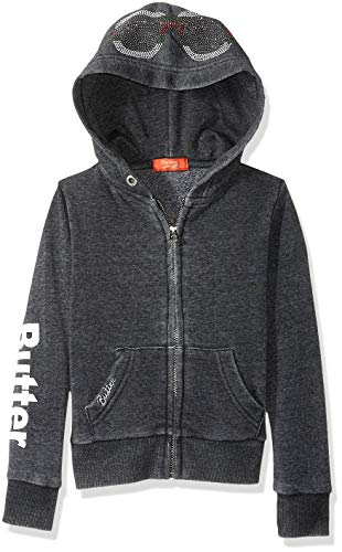 Butter Girls' Big Burnout Fleece Zip Hoodie, Peace Black ()