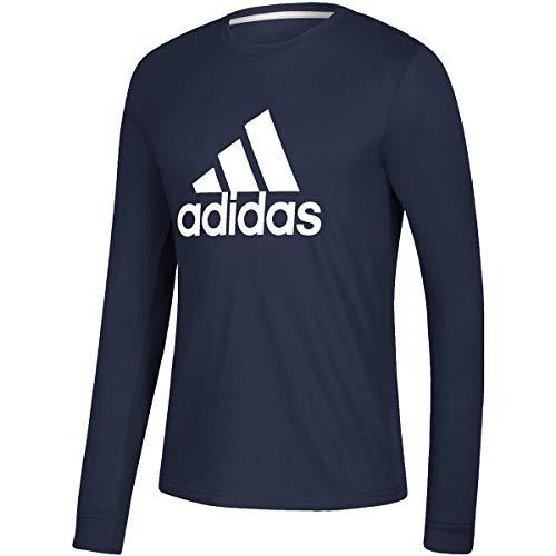 adidas Mens Basic Badge of Sport Long Sleeve Tee (Navy Blue, X-Large)