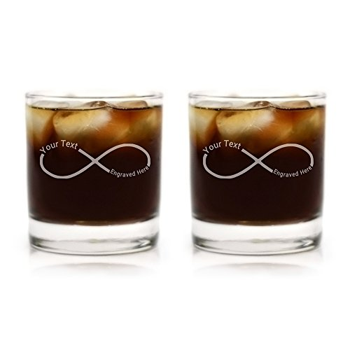 Custom Engraved Couples Infinity Cocktail Glasses - Set of Two -