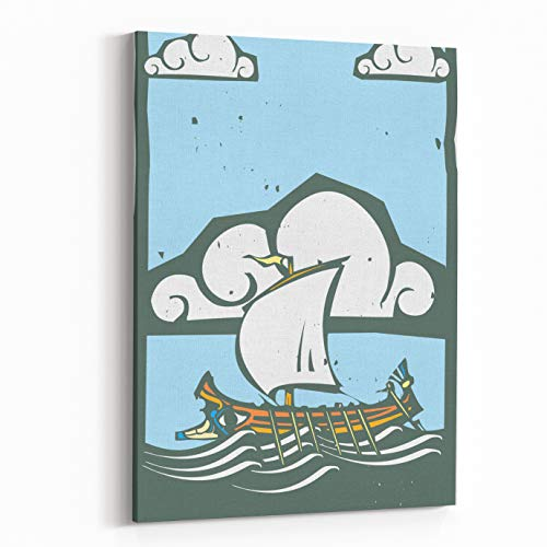 Rosenberry Rooms Canvas Wall Art Prints - Woodcut Style Ancient Greek Galley with Oars and Sail at Sea with Sky and Clouds (20 x 30 inches) ()