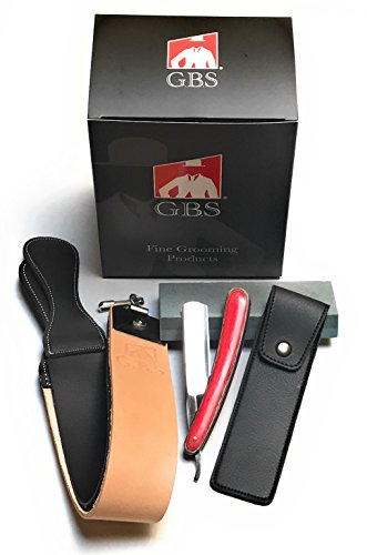 "GBS Multi Wood Straight Razor 5/8"" with 20"" Leather Strop, Sharpening Stone and Razor Case. Easy to Use – Classic Style for Extra Clean Shave. Best fathers day gift!"
