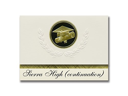 Mammoth Sierra High (Signature Announcements Sierra High (continuation) (Mammoth Lakes, CA) Graduation Announcements, Presidential style, Elite package of 25 Cap & Diploma Seal Black & Gold)