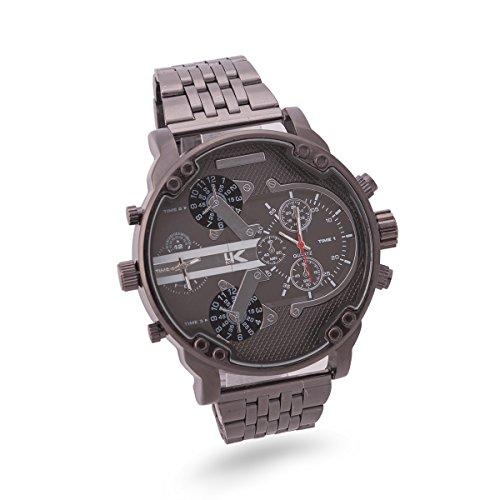 Yaki Herrenuhr Armbanduhr Männer Uhr Groß Zifferblatt 2 Zeitzone Fashion Handgelenk Quarz Uhren Schwarz