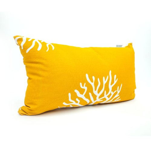 Majestic Home Goods Yellow Coral Pillow, - Coral And Yellow Decor