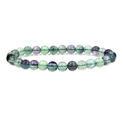 Fluorite Green Bracelet - Amandastone Natural AA Clear Green Fluorite Gemstone 6mm Round Beads Stretch Bracelet 7