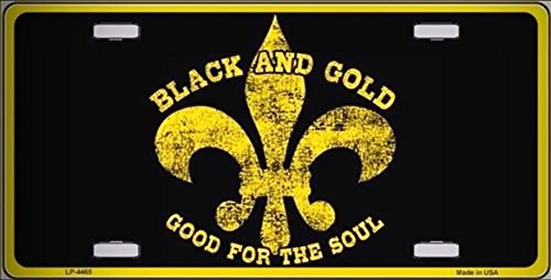 Fleur De Lis Black Gold Vanity Metal Novelty License Platefor Home/Man Cave Decor by PrettyMerchant