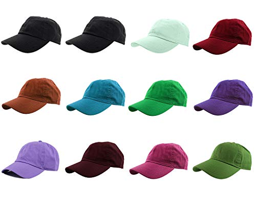 Assorted Hats - Gelante Baseball Caps 100% Cotton Plain Blank Adjustable Size Wholesale LOT 12 Pack (Assorted #3)