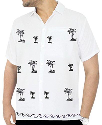 LA LEELA Rayon Beach Floral Dress Shirt White X-Small | Chest 36