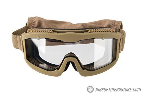 Lancer_Tactical AERO Protective Airsoft Goggles Clear Lens - Tan