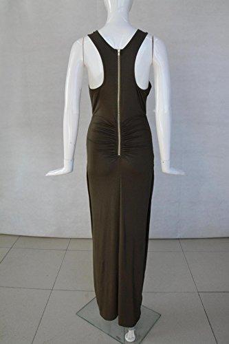 ... Cocktailkleid Damen Sommer Elegant Festlich Kleid Lang Ärmellos  Rundhals Slim Fit Einfarbig Bekleidung Modisch Dresses Uni ... 5ee8e1dbb1
