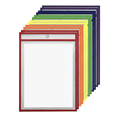 "12 Pack Dry Erase Pockets – Assorted Colors – by Essex Wares – for Teacher Lessons in a Classroom or for Use at Your Home or Office – Fits Standard 8.5"" X 11"" Paper by Essex Wares"