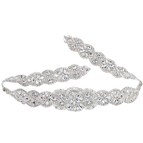 Crystal Rhinestone Appliques with Stain Ribbons Sewn on or Hot Fix for DIY Dress Belts, Headbands, Headpieces, Neckline, Garters, Shoes, Bags - Silver (Silk Beaded Belt)