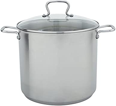 Range Kleen CW7103 Stainless Steel Stock Pot with Tempered Glass Lid, 16-Quart