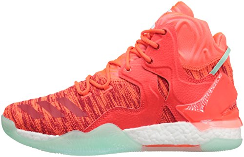 adidas Men's D Rose 7 Primeknit Basketball Shoe, Solar Red/White/Ice Green Fabric, 8.5 M US