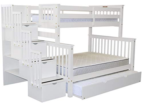 Bedz King Stairway Bunk Beds Twin over Full with 4 Drawers in the Steps and a Twin Trundle, White For Sale