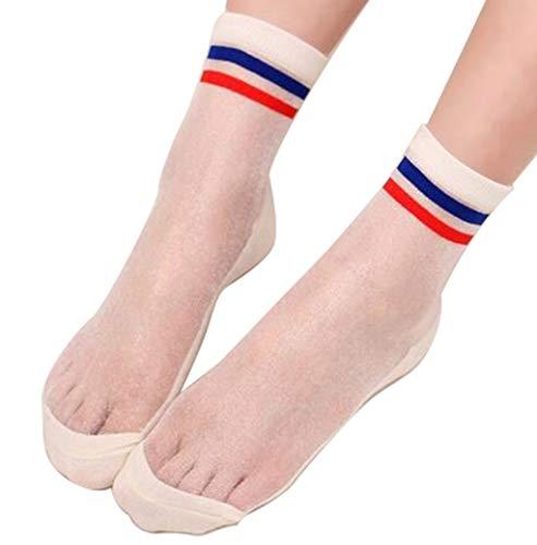 CRIZAN Womens Blue and Red Stripe Ultrathin Transparent Crystal Silk Elastic Socks