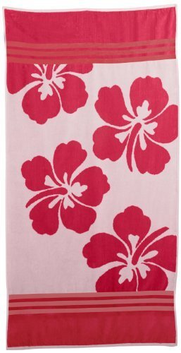 Superior de tamaño grande Jacquard toalla de playa, Rosa Flores hawaianas by HOME CITY INC.: Amazon.es: Hogar