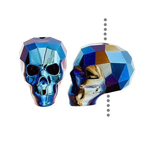19 Mm Crystal (Swarovski Crystal, #5750 Skull Bead 19mm 1 Piece, Crystal Metallic Blue 2X)
