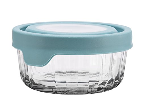 Blue Open Sugar Bowl - Anchor Hocking TrueSeal Embossed Glass Food Storage Container with Airtight Lid, Mineral Blue, 2 Cup