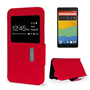 Funda Card Cover BQ Aquaris E5 (Rojo)