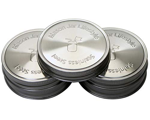 Mason Jar Lifestyle Rust Proof Stainless Steel Storage Lids with Platinum Silicone Liners (5 Pack, Wide Mouth)