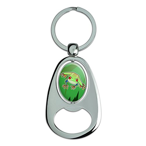 Tree Frog on Leaf Chrome Plated Metal Spinning Oval Design Bottle Opener Keychain (Frog Keychain Metal)