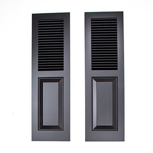 15in. W x 50in.H Cedar Combination Shutter Pair Top Panel: Fixed Louver Bottom Panel: Raised Panel Paint: Black by Timberlane