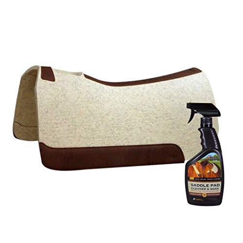 "5 Star Horse Saddle Pad - 1"" Thick Western Contoured Natural Pad - The Performer Full Skirt 32"" X 32"" Free Saddle Pad Cleaner & Soak Shipped Separately"
