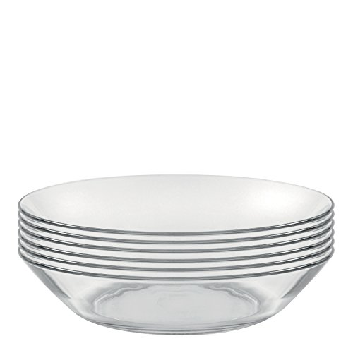 Duralex Made In France Lys 8 Inch Clear Calotte Plate, Set of (French Dinnerware Salad Plate)