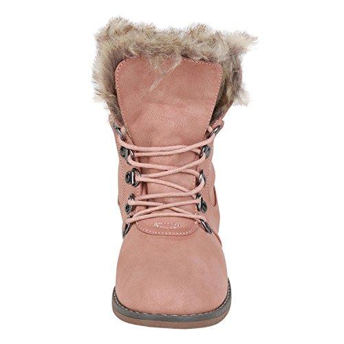 napoli-fashion Warm Gefütterte Damen Stiefeletten Outdoor Boots Kunstfell Stiefel Jennika Rosa Braun