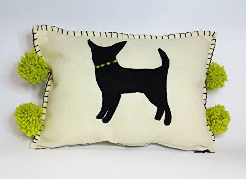 Felt Chihuahua Silhouette and Pom Pom Pillow (Silhouette Poms)