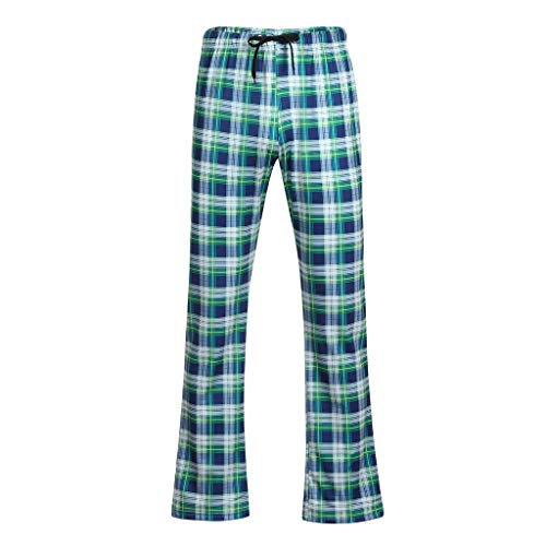 (yoyorule Casual Pants Men's Fashion Summer Casual Plaid Printing Drawstring Long Pajamas Pants)