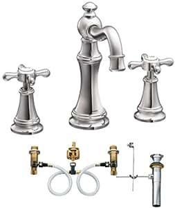 Moen Ts42114 9000 Weymouth Two Handle High Arc Bathroom Faucet With Valve Chrome Bathroom