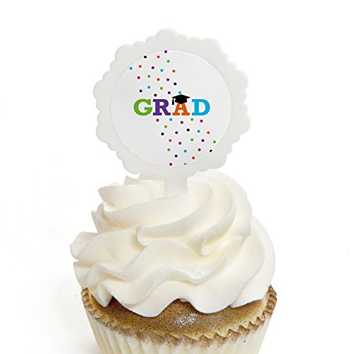 Hats Off Grad - Graduation Cupcake Picks with Stickers - Party Cupcake Toppers - 12 Count