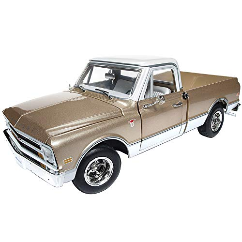 1968 Chevrolet C-10 Fleet Side Pickup Truck Metallic Gold with White Top Limited Edition to 1,002 Pieces 1/18 Diecast Model Car by Autoworld AMM1165 ()