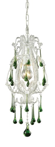 Antique White Lime Crystal - Elk 12003/1LM Opulence 1-Light Pendant In Antique White and Lime Crystals