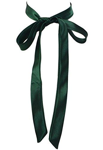 SYAYA Ladies Long Pre Bow Tie Solid Color Bowtie for Women WLJ14 (deep green)