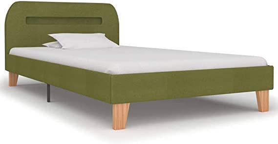 vidaXL Estructura de Cama con LED 90x200 cm Decoración Dormitorio DIseño Habitación Hogar Casa Mobiliario Muebles Bricolaje Tela Verde