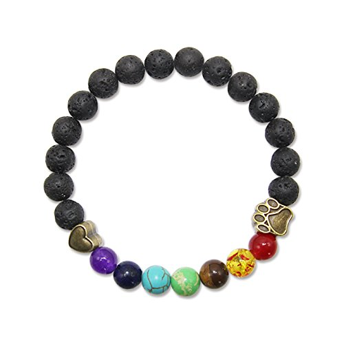 AUCHEN Pet Memorial Bracelet Gift Rainbow Bridge Personalized Nature Lava Bead Sympathy Gifts for Loss of Your Beloved Pets Dog ()