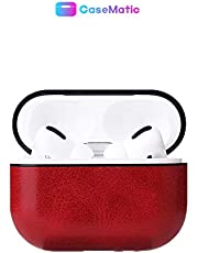 The Original Leather Airpods Pro Case - Drop Proof Air Pods Protective Case Cover Silicone Skin for Apple Airpods Pro (Red)