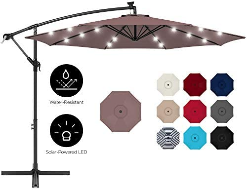 Best Choice Products 10ft Solar LED Offset Hanging Market Patio Umbrella for Backyard, Poolside, Lawn and Garden w Easy Tilt Adjustment, Polyester Shade, 8 Ribs – Deep Taupe