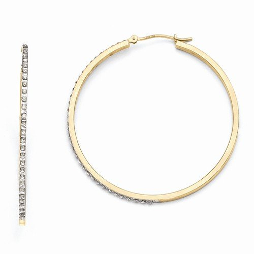 14k Yellow Gold In & Out Diamond Fascination Large Round Hinged Hoop Earrings (.01 cttw.) (51mm x (Diamond In & Out Hoop)