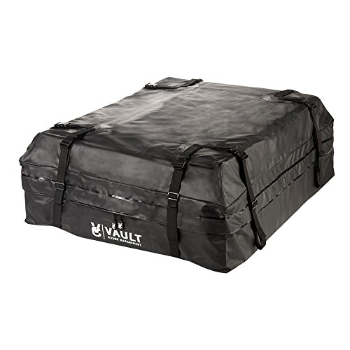 Waterproof Canvas Cargo Storage Roof Bag by Vault Cargo – On top of Car Bag - Straps to Crossbars or a Roof Basket - Waterproof Carrier Bag Has 15 Cubic Feet of Capacity – Fit for the Outdoor Elements (Roof Top Basket Carrier)