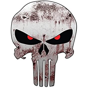 Punisher skull with reflective eyes american flag vinyl decal stickers car truck sniper marines army navy