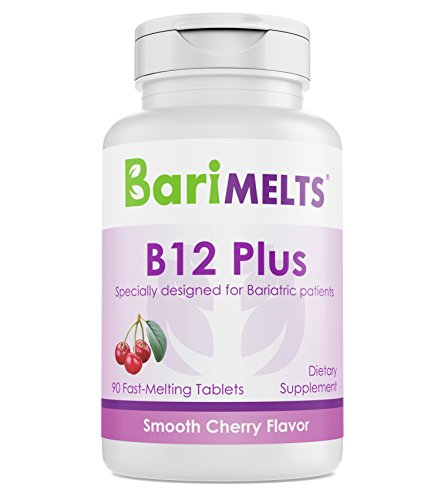 Fusion Plus Vitamin (BariMelts B12 Plus, Dissolvable Bariatric Vitamins, Natural Cherry Flavor, 90 Fast Melting Tablets)
