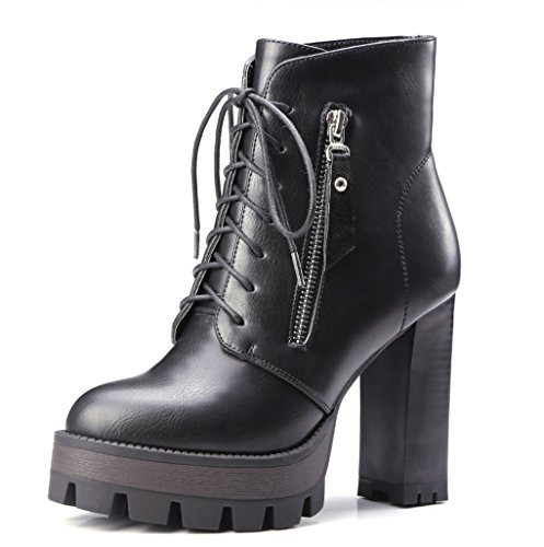 XZ Martin Boots Short Boots Large Size Female Autumn and Winter Europe and The United States Brush Waterproof Taiwan Rough With High-Heeled Shoes Black fE8sl